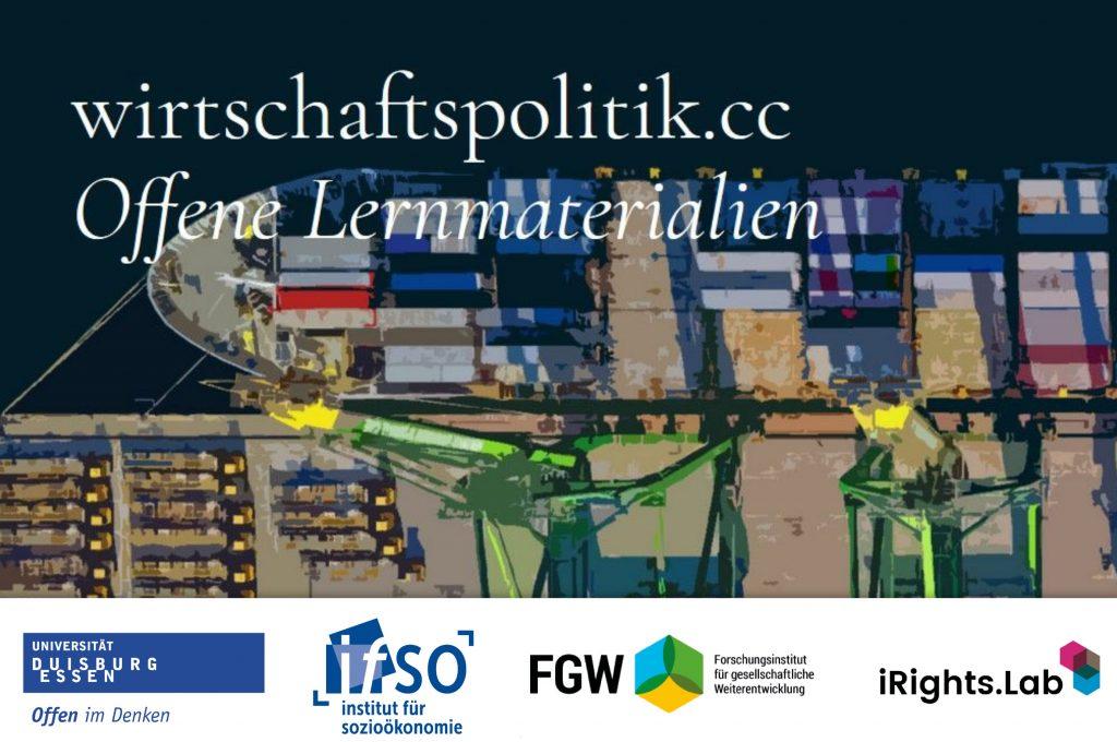 Symbolbild-Hafen-Containerschiff von oben-Wirtschaftspolitik.cc als Webangebot mit Logos