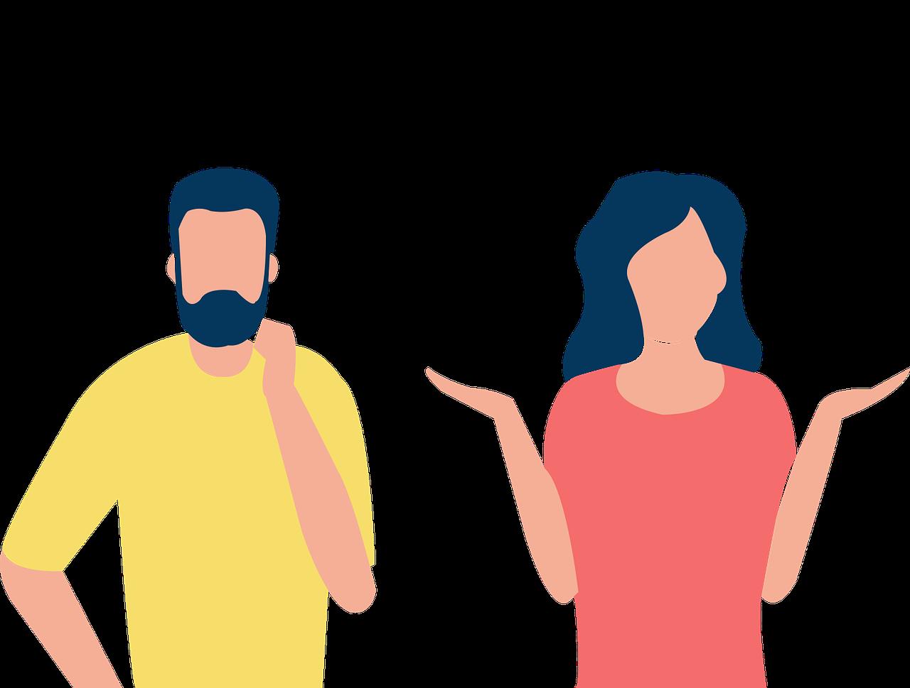 Mann-Frau-Fragezeichen